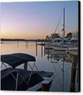 Potomac River At Sunrise Belle Haven Marina Alexandria Virginia Canvas Print by Brendan Reals