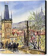 Prague Charles Bridge Spring Canvas Print by Yuriy  Shevchuk