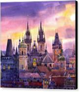 Prague City Of Hundres Spiers Variant Canvas Print by Yuriy  Shevchuk