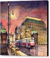 Prague  Night Tram National Theatre Canvas Print by Yuriy  Shevchuk