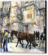 Prague Old Town Square Astronomical Clock Or Prague Orloj  Canvas Print by Yuriy  Shevchuk