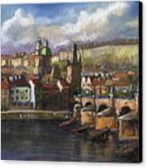 Prague Panorama Charles Bridge Prague Castle Canvas Print by Yuriy  Shevchuk