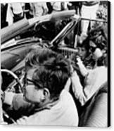 President Kennedy Drives An Open Car Canvas Print by Everett