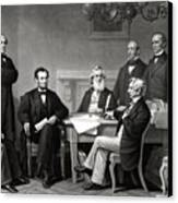 President Lincoln And His Cabinet Canvas Print by War Is Hell Store