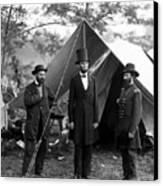 President Lincoln Meets With Generals After Victory At Antietam Canvas Print by International  Images