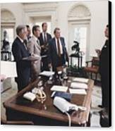 President Reagan And His White House Canvas Print by Everett