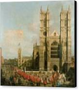 Procession Of The Knights Of The Bath Canvas Print by Canaletto