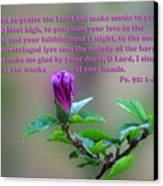 Psalms Scripture With Floral Bud Canvas Print by Linda Phelps
