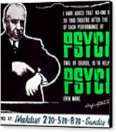 Psycho, Director Alfred Hitchcock Canvas Print by Everett