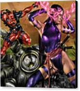 Psylocke And Deadpool Canvas Print by Pete Tapang