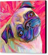Pugsly Canvas Print by Karen Derrico