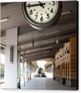 Railway Station Clock Canvas Print by Deyan Georgiev