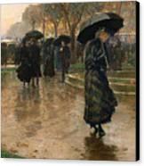 Rain Storm Union Square Canvas Print by Childe Hassam
