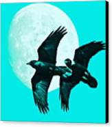 Ravens Of The Moon . Cyan Square Canvas Print by Wingsdomain Art and Photography
