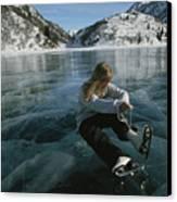Rebecca Quinton Laces Up Her Ice Skates Canvas Print by Michael S. Quinton