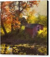 Red Barn In Autumn Canvas Print by Joann Vitali