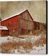 Red Barn White Snow Canvas Print by Larry Marshall