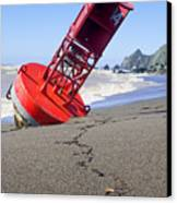 Red Bell Buoy On Beach With Bottle Canvas Print by Garry Gay