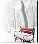 Red Bench In The Snow Canvas Print by  Jaroslaw Grudzinski