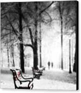 Red Benches In A Park Canvas Print by Jaroslaw Grudzinski