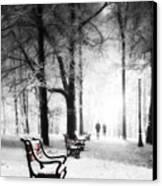 Red Benches In A Park Canvas Print by Jaroslaw Grudzinski