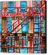 Red Fire Escape Canvas Print by John  Williams