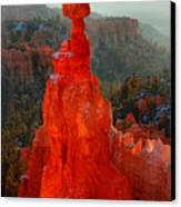 Red Glow Of The Sunrise On Thor's Hammer In Bryce Canyon Canvas Print by Pierre Leclerc Photography