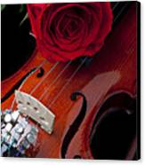 Red Rose With Violin Canvas Print by Garry Gay