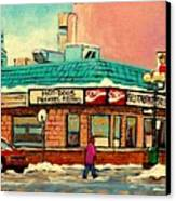 Restaurant Greenspot Deli Hotdogs Canvas Print by Carole Spandau