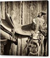 Retired Saddle Canvas Print by Christine Hauber