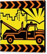Retro Tow Truck Canvas Print by Aloysius Patrimonio