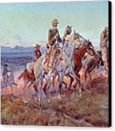 Riders Of The Open Range Canvas Print by Charles Marion Russell
