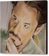Robert Downey Jr Iron Man Canvas Print by Angela Schwengler