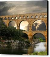 Roman Pont Du Gard Canvas Print by Carver Kearney