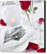 Romantic Dinner Setting With Rose Petals Canvas Print by Elena Elisseeva