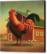 Rooster And The Barn Canvas Print by Robin Moline