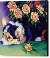 Roses - Pembroke Welsh Corgi Canvas Print by Lyn Cook