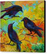 Roundtable Discussion - Crows Canvas Print by Marion Rose