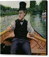 Rower In A Top Hat Canvas Print by Gustave Caillebotte