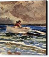 Rowing At Prouts Neck Canvas Print by Winslow Homer