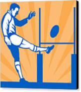 Rugby Goal Kick Canvas Print by Aloysius Patrimonio