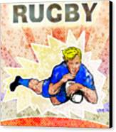 Rugby Player Diving To Score A Try Canvas Print by Aloysius Patrimonio