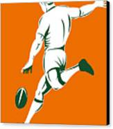 Rugby Player Kicking Canvas Print by Aloysius Patrimonio