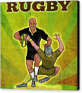 Rugby Player Running Attacking With Ball Canvas Print by Aloysius Patrimonio