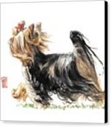 Running Yorkie Canvas Print by Debra Jones