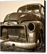 Rusty But Trusty Old Gmc Pickup Truck - Sepia Canvas Print by Gordon Dean II