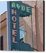 Ryde Hotel Sign Canvas Print by Troy Montemayor