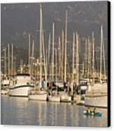 Sailboats Docked In The Santa Barbara Canvas Print by Rich Reid