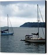 Sailboats In Bar Harbor Canvas Print by Linda Sannuti