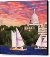 Sailing In Madison Canvas Print by Anthony Caruso